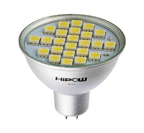 Ampoule led GU5.3/MR16 24 leds SMD 5050 Blanc froid 120°