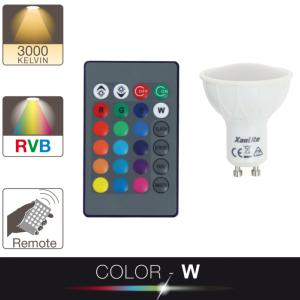 Ampoule LED GU10 MR16 COLOR - W 50W = 280Lm (équiv 60W) RGB 100° XANLITE