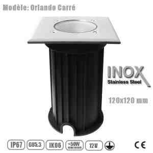 DESTOCKAGE Spot GU5.3 en 12v Carré étanche IP67, Inox Plein, Collection Orlando, 120x120mm