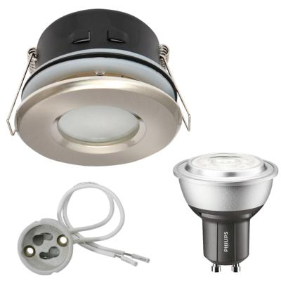 Spot encastrable salle de bain Nickel satiné Rond GU10 IP44 4W Blanc Neutre ampoule Philips