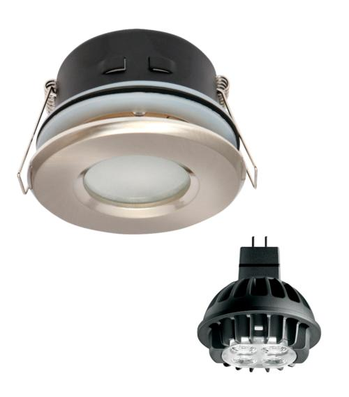 Spot encastrable salle de bain Chrome Rond GU5.3 MR16 IP67 7W Blanc Chaud ampoule fournie Philips