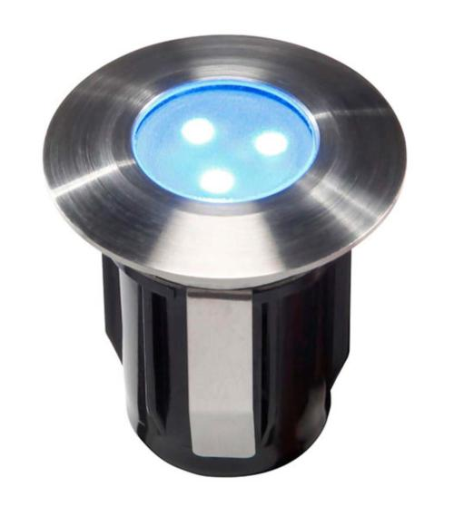Spot encastrable ALPHA BLEU 0,5W PLATINE LED IP68 Blanc Très Froid Garden lights amp. fournie