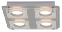 Plafonnier luminaire LED Chrome/Transparent Collection CHARON modèle 4 spots ref 181068 par AEG