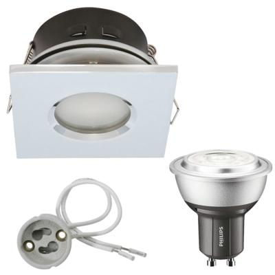Spot encastrable salle de bain Chrome Carré GU10 IP44 4W Blanc Neutre ampoule fournie Philips