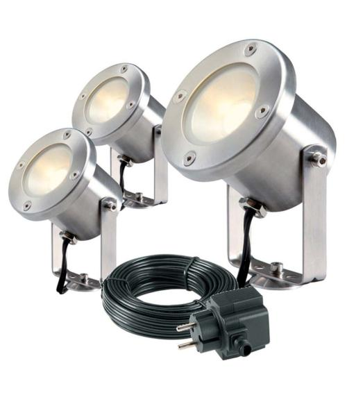Spot projecteur piquer ou visser CATALPA SET 3W GU5.3 MR16 IP44 Blanc Chaud Garden lights + ampoule
