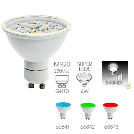 Ampoule Gu10 MR20 36 leds smd Easy Connect 4 watts dimmable rendu 35 watts 66841
