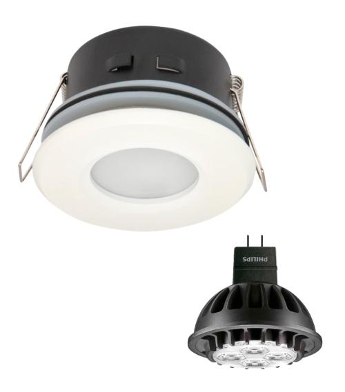 Spot encastrable salle de bain Blanc Rond GU5.3 MR16 IP44 7W Blanc Neutre ampoule fournie Philips