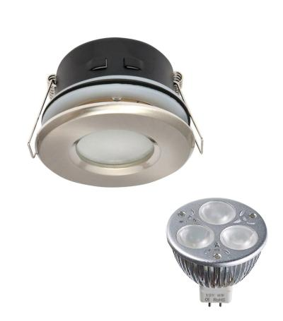 Pack Spot encastrable salle de bain Nickel satiné Rond GU5.3 MR16 IP44 6W BN ampl fournie EDISON