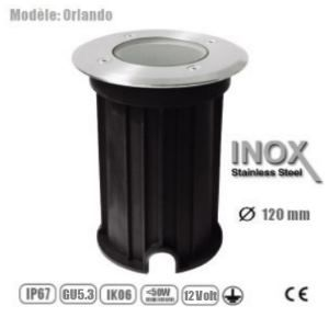 DESTOCKAGE Spot MR16 Rond étanche IP67 Verre dépoli, Inox Plein, collection Orlando, 120 mm diamètre