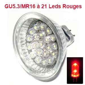 Ampoule Led GU5.3 / MR16 à 21 leds Rouge
