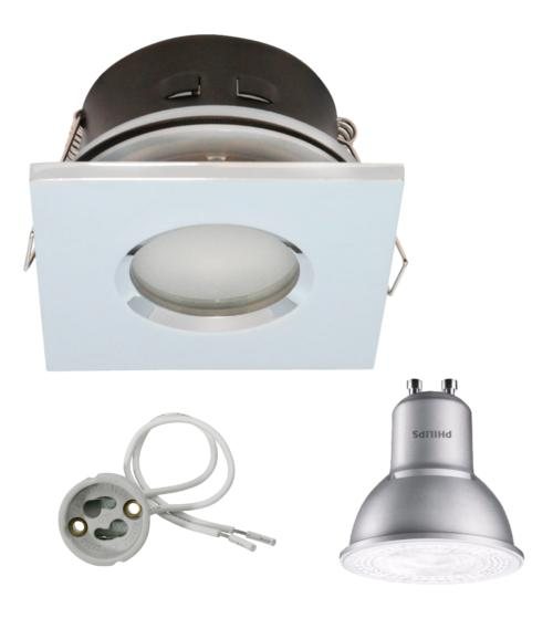 Spot encastrable salle de bain Chrome Rond GU10 IP67 4,3W Blanc Neutre ampoule fournie Philips