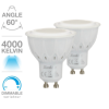 Lot de 2 ampoules GU10 Dimmable SPOT LED 420 LUMENS Blanc neutre  5.6W = 50W XANLITE PACK2MG450SCWD