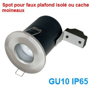 Spot encastrable chrome gu10 ip65 collection bastia for Spot exterieur encastrable plafond