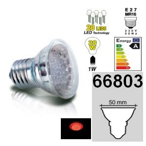 DESTOCKAGE Easy Connect ampoule E27 MR16 à 20 leds rouges 66803