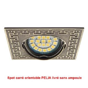 Spot orientable carré PELIA en laiton antique