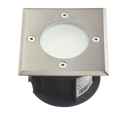 Spot carré en inox 21 Leds SMD tension 12V Blanc IP67 - Collection Québec - verre dépoli