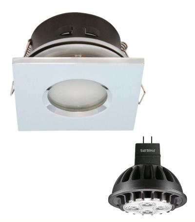 Spot encastrable salle de bain Chrome Carré GU5.3 MR16 IP44 7W Blanc Chaud ampoule fournie Philips