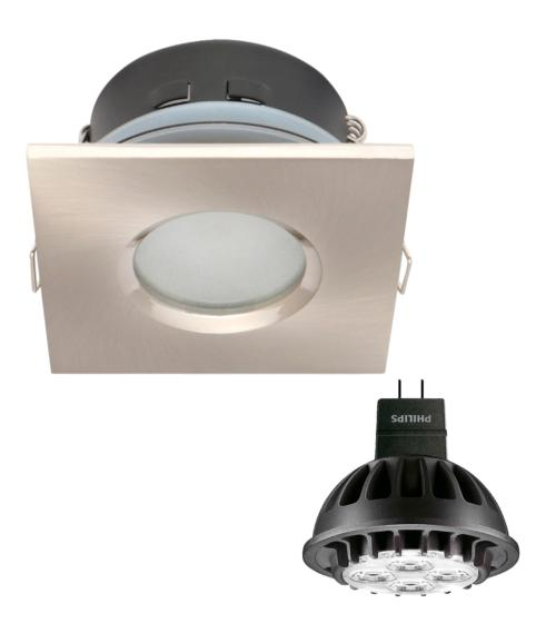 Spot encastrable salle de bain Blanc Carré GU5.3 MR16 IP65 7W Blanc Neutre ampoule fournie Philips