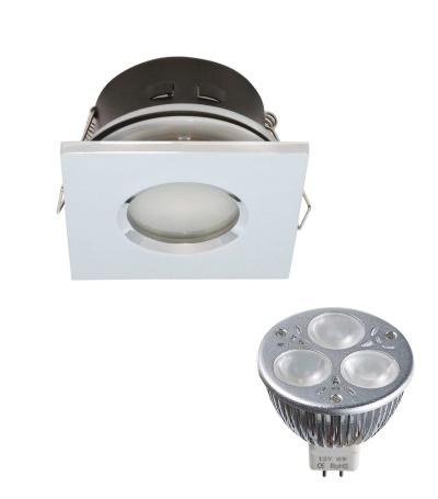 Pack Spot encastrable salle de bain Chrome Carré GU5.3 MR16 IP44 6W Blanc Neutre ampl fournie EDISON