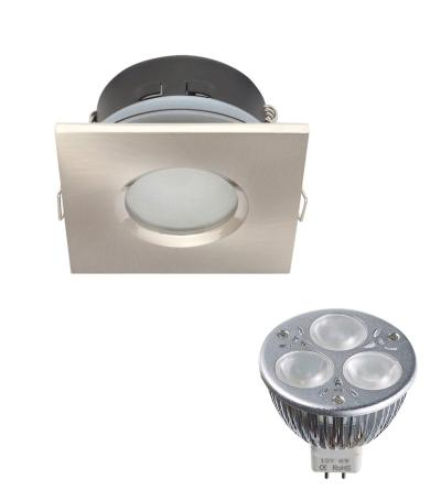 Pack Spot encastrable salle de bain Nickel satiné Carré GU5.3 MR16 IP65 6W BN ampl fournie EDISON