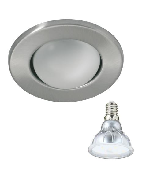 Spot encastrable Chrome mat Rond E14 IP20 4,2W Blanc Chaud ampoule fournie Xanlite