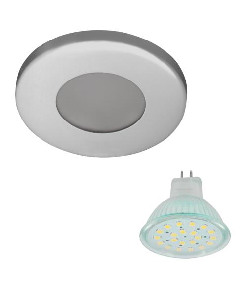 Spot encastrable salle de bain Chrome Rond GU5.3 MR19 IP44 3W Blanc Neutre ampoule fournie HIPOW