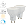 Lot de 2 ampoules GU10 Dimmable SPOT LED 420 LUMENS 2700K  5.6W = 50W XANLITE ref PACK2MG450S