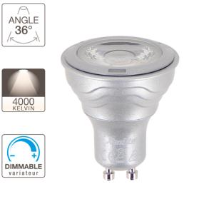 Ampoule LED GU10 MR16 Dimmable 6.5W = 345Lm (équiv 50W) Blanc Neutre 36° XANLITE