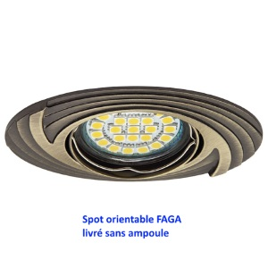 Spot encastrable orientable 30 faga laiton antique for Spot orientable interieur