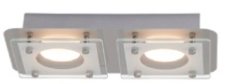 Plafonnier luminaire LED Chrome/Transparent Collection CHARON modèle 2 spots ref 181067 par AEG