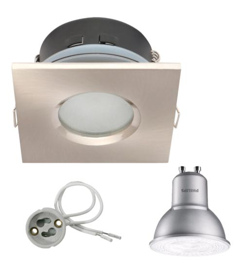Spot encastrable salle de bain Nickel satiné Carré GU10 IP67 4,3W Blanc Neutre ampoule Philips
