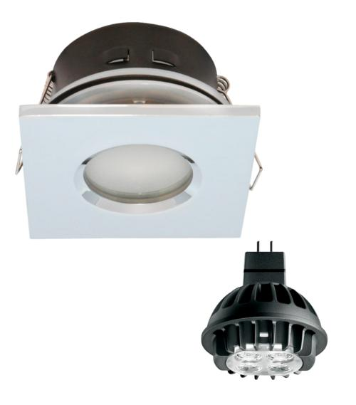 Spot encastrable salle de bain Chrome Carré GU5.3 MR16 IP67 7W Blanc Chaud ampoule fournie Philips
