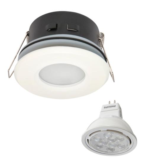 Spot encastrable salle de bain Blanc Rond GU5.3 MR16 IP67 8W Blanc Neutre ampoule fournie Philips