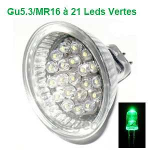 Destockage Ampoule Led gu5.3 / MR16 à 21 leds Verte