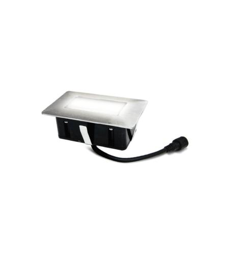 Easy connect Spot Inox à encastrer 28 Leds Blanc Froid Rectangle 6x10Cm Etanche IP67, réf 65440