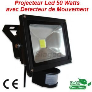 Destockage projecteur led 50w bridgelux couleur blanc chaud 2800 320 for Projecteur led avec detecteur de presence