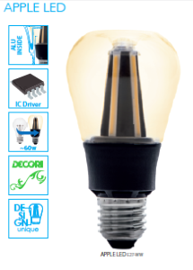 Ampoule E27 à filaments LED COG Design 8W APPLE Blanc chaud 2700K ref 24256 par Kanlux
