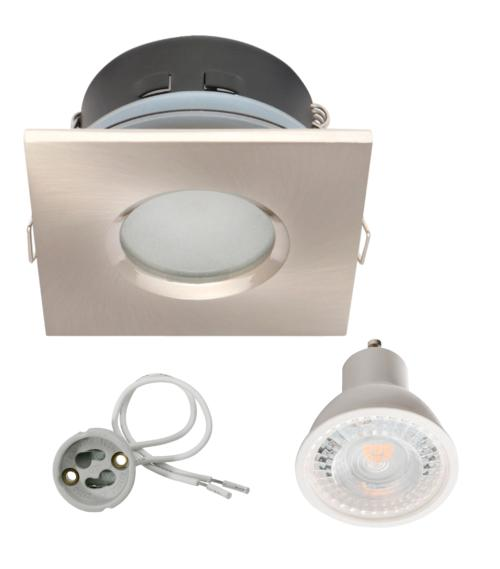 Spot encastrable salle de bain Nickel Satiné Carré GU10 IP67 7W Blanc Neutre ampoule fournie Kanlux