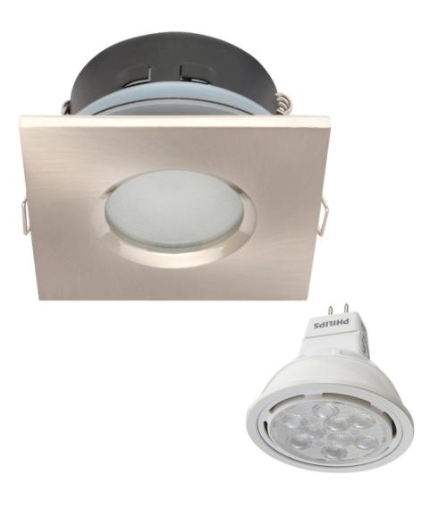 Spot encastrable salle de bain Nickel satiné Carré GU5.3 IP67 8W Blanc Neutre ampoule Philips