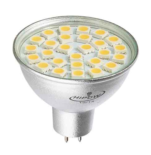 Ampoule led GU5.3/MR16 27 leds SMD 5050 Blanc chaud 120°