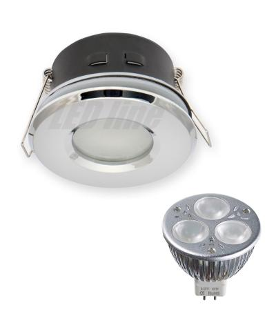 Pack Spot encastrable salle de bain Chrome Rond GU5.3 MR16 IP44 6W Blanc Neutre ampl fournie EDISON