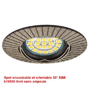 Spot encastable design et orientable 30° laiton Antique collection SIMI