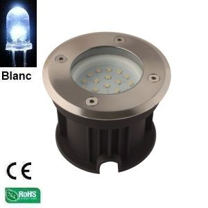Spot rond en inox 21 Leds SMD 2835 tension 12V Blanc Froid IP67 Collection Québec Verre dépoli HIPOW