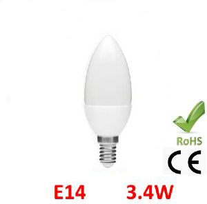 destockage E14 ampoule led SMD 3.4W blanc chaud coupe flamme droite DUN