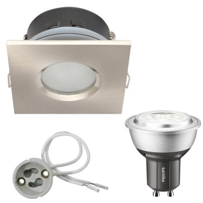 Spot encastrable salle de bain Nickel satiné Carré GU10 IP65 4W Blanc Neutre ampoule Philips