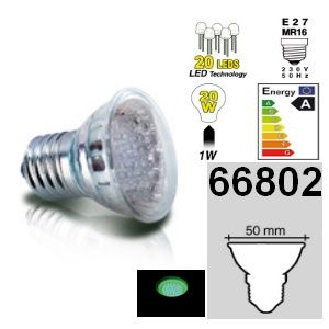 DESTOCKAGE Easy Connect ampoule E27 MR16 à 20 leds Vertes 66802