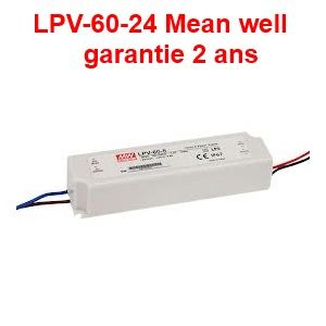 Alimentation spéciale led LPV-60-24 Mean well IP67