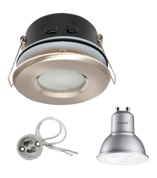 Spot encastrable salle de bain Nickel satiné Rond GU10 IP67 4,3W Blanc Neutre ampoule Philips
