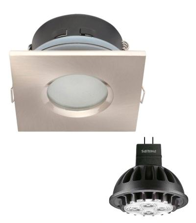Spot encastrable salle de bain Nickel satiné Carré GU5.3 IP65 7W Blanc Chaud ampoule fournie Philips