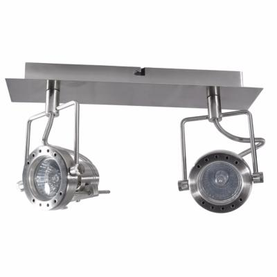 Plafonnier luminaire GU10 2 spots orientable en chrome satiné Collection Sonda ref 4796 par Kanlux
